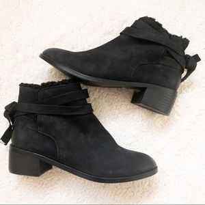 NWT Aldo black suede leather booties